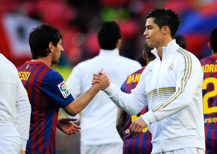 messi ronaldo handshake