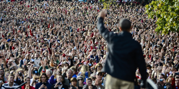 Barack Obama addressing crowd