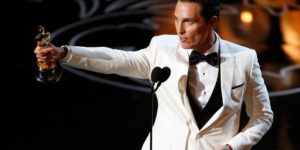 "Matthew McConaughey accepts the Oscar for best actor for his role in ""Dallas Buyers Club"" at the 86th Academy Awards in Hollywood, California March 2, 2014"
